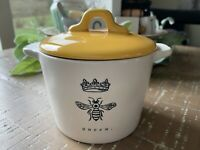 NEW!! Rae Dunn QUEEN Bee Mini Crock W/ Yellow Lid Mother's Day Spring 2021 VHTF
