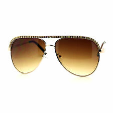RHINESTONE TOP Celebrity Women's AVIATOR Sunglasses GOLD/BROWN