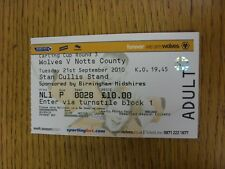 21/09/2010 BIGLIETTO: Wolverhampton Wanderers V NOTTS COUNTY FOOTBALL LEAGUE CUP []