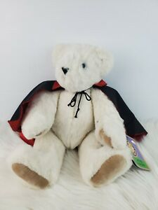 """The Vermont Teddy Bear Co White Jointed Bear Wearing Black Red Cape 16"""" NWT"""