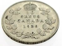 1936 Canada Ten 10 Cent Silver Dime Canadian Circulated George V Coin M059