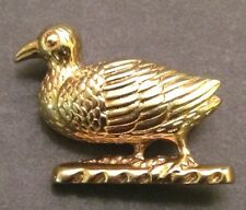 Plate Bird Pin Brooch Vintage Sterling Silver Gold
