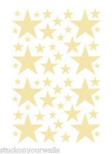 52 PALE YELLOW STARS VINYL BEDROOM WALL DECALS STICKERS BABY KIDS DORM ROOMS