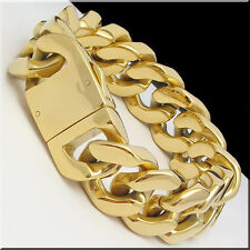 9inch 20MM Wide Chunky Chain Link Bracelet Stainless Steel Men Best Jewelry Gold