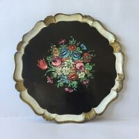 Vintage Florentin Hand Painted Black Floral Wood Round Plate Tray Made In Italy