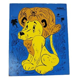 Playskool Shy Lion Mouse Aesops Fables 9 Piece Wood Tray Puzzle 275-39 Vintage
