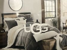 UGG HOME HUDSON 3 PIECE FULL / QUEEN  COMFORTER SET GRAY SHERPA NEW