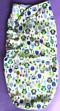 SWADDLE Wrap Boy Seelpsacks Sleeping Bags JUST CUTE Blue Owl size 3-6mths BNWT