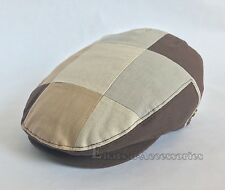 100% Cotton Men's Cabbie Patch Work Newsboy Gatsby Snapbill Ivy Multi Brown Hat
