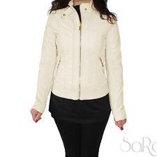 Jacket Women's Jacket Eco-leather White Black Zip Gold Slim Stud Jacket Rock