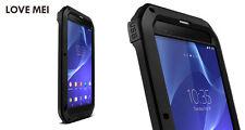 Love Mei Metallgehäuse Sony Xperia T2 Ultra Spritz Wasserdicht Schutz schwarz