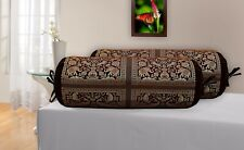 Indian Handmade Cushion Brocade Bolster Pillow Cover Round Cylinder Case Throw