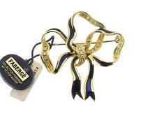FABERGE' spilla oro giallo 18kt con smalto blue e diamanti referenza F-1150