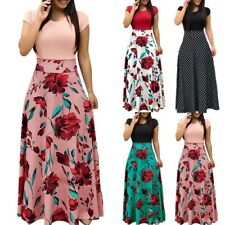 UK Women's Boho Maxi Floral Dress Summer Ladies Short Sleeve Long Flower Dresses