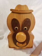 Vintage Handmade Wooden Banks by Bob North Dakota Large Clown Bank Excellent