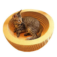 Bowl-style Corrugated Paper Cat Toy Scratcher Bed Pad with Catnip Earthy Yellow