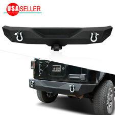Rock Crawler Rear Bumper w/ D-ring & Hitch Receiver for 07-18 Jeep Wrangler JK