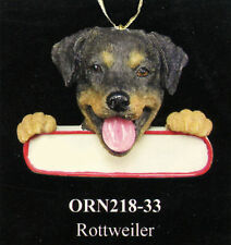 "Rottweiler Christmas Dog Ornament ""Santa's Pals"" with Personalized Name Plate 33"