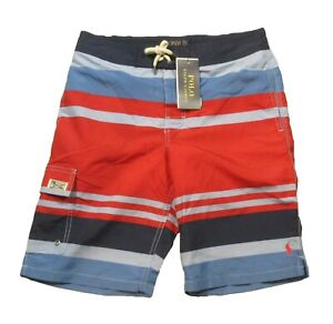 Polo Ralph Lauren Boys Red Multi Stripe Swim Trunks