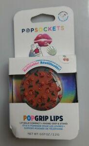PopSockets PopGrip Lips Cell Phone Grip & Stand/Lip Balm Compact CHERRY - NIB