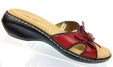 Cherokee Brick Red Leather Floral Accent Slip-On Slides Sandals Women's 5.5
