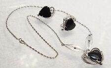 Sorrento Hallmark .925 Silver Black Onyx Heart Necklace & Screw Back Earring Set
