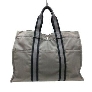 Auth HERMES Fourre Tout Tote GM Gray Black Canvas Tote Bag