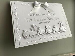 Personalised christening card, Grandson, Son, Godson, white, train