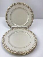 """Franciscan China Vintage Beverly Salad Plates 8 1/4"""" Set of 4 Gold Leaf"""