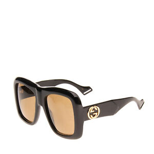 RRP €235 GUCCI Oversized Butterfly Sunglasses GG Logo Glossy Frame Made in Italy