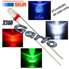 Kit 100X Diodo LED 3 mm en diversos colores 2 Pin alta luminosidad