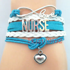 Infinity Love NURSE Bracelet sports Wristband friendship charm Bracelets Blue