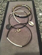 New Fossil Brand Multi Bracelet Set Leather Wood Bangles 4