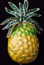 GOLD GREEN RHINESTONE HAWAII HAWAIIAN WELCOME PINEAPPLE FRUIT PIN BROOCH JEWELRY
