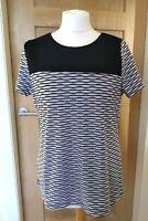 Andrew Marc New York  Short Sleeve Soft Lined Top Black White Stripe Size Medium