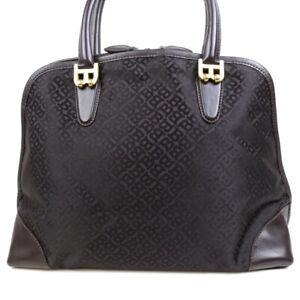 BALLY Nylon Leather Handbag Logo Hardware Gold