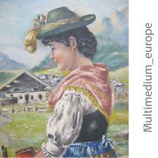 Gemälde Bild Mädchen mit Tracht Aquarell Tempera Karton Gebirge Alpen Landschaft