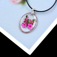 Collar De Resina de Flor de verdad, con forma ovalada Miosotis de en Rosa