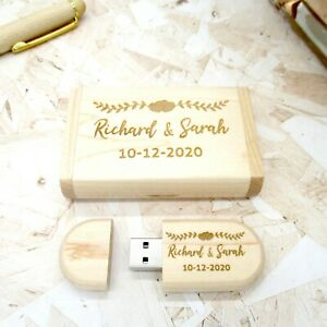 Wooden 32GB USB Box Wedding Memories Photos Gift Keepsake Personalised Engraving