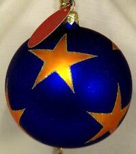 "Hanco~Blue 4"" Ball w/ Orange Stars~Blown Glass Christmas Ornament Gift~Poland"