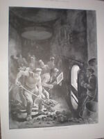 Under Forced Draught Heroes in the Hold sailor coaling a ship 1898 old print