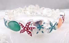 Silver Starfish Sand Dollar Stretch Bracelet Fashion Jewelry New Orange Teal Red