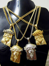 Hip Hop Iced Out Small Jesus Pendant Necklace Cuban Link or Box Chain Religious