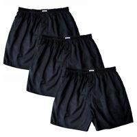 Men's Thai Silk Boxer Shorts 3 Pairs Black Boxers Underwear Briefs / M L XL 2XL
