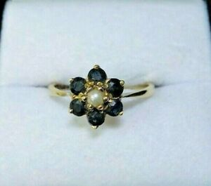 Vintage 9 carat Gold Sapphire and Pearl Flower Cluster Ring Size L