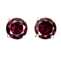 Round 6mm Rhodolite Garnet 14kwhite Gold Plate 925 Sterling Silver Stud Earrings