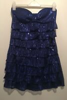 UK 14 BOOHOO BLUE SEQUIN STRAPLESS DRESS SUMMER/HOLIDAY/TOWIE/CHELSEA/IBIZA/GYM