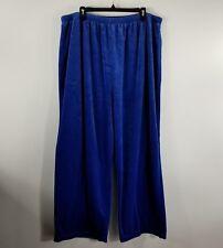 All American Comfort Palazzo Pants Womens 3X Blue Wide Leg Velour Elastic Waist