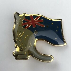 Australia Kangaroo National Flag Lapel Pin Tourist Travel Souvenir Blue Gold
