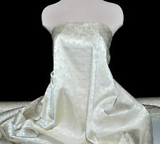 """BROCADE SATIN FABRIC GOLD WHITE  56"""" WIDE BY THE YARD , COSTUME, HOME DECOR,"""